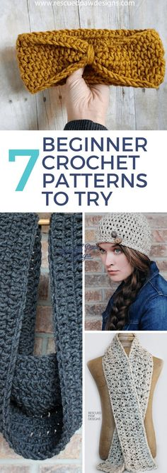 Free Crochet Patterns for Beginners ⋆ Rescued Paw Designs Crochet. Free crochet patterns beginner projects! Make these easy beginner crochet patterns today!  #CrochetProjects