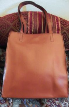 VINTAGE-Lillian-Vernon-Genuine-Leather-Large-Sienna-Shoulder-Bag