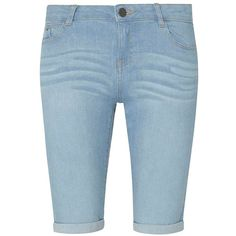 Dorothy Perkins Light Wash Denim Knee Shorts (2.120 RUB) ❤ liked on Polyvore featuring shorts, blue, dorothy perkins, light wash denim shorts, denim shorts, light wash shorts and blue denim shorts