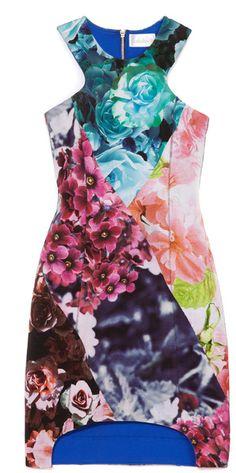 SHAKUHACHI Flower Bomb Bonded Body Con Dress - Lyst