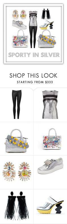 """""""Sporty in Silver"""" by divinesunshine ❤ liked on Polyvore featuring rag & bone/JEAN, Paco Rabanne, Anya Hindmarch, Bijoux de Famille, Acne Studios and Oscar de la Renta"""