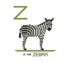 Zebra, cross stitch pattern, zoo animals, safari, alphabet flash cards, personalized baby gift, DIY project, modern cross stitch, contemporary embroidery, needlepoint, sewing