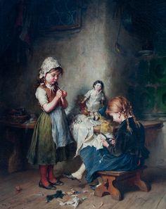 The little Seamstress - Heinrich Hirt 1841-1902