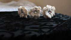 Most Popular Wedding head piece, 5 crochet flowers, with Diamond gem in middle of flower by KariLynnsKumfortshop Braided Necklace, Scarf Necklace, Crochet Necklace, Crochet Ruffle Scarf, Crochet Flowers, Head Piece, Winter Accessories, Gem, Art Deco