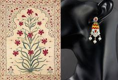 Mughal 3 pearl drop enamel earrings – Lai