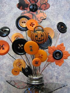 Button Bouquet Salt Shaker Button Flowers Bouquet by . Button Bouquet Salt Shaker Button Flowers Bouquet by . Retro Halloween, Halloween Mantel, Halloween Cards, Holidays Halloween, Halloween Decorations, Halloween Flowers, Halloween Goodies, Halloween Design, Happy Halloween