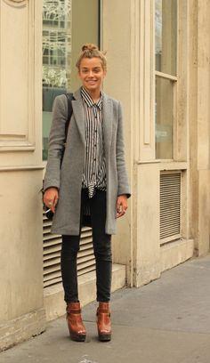 Grey long coat + stripes blouse + black denim
