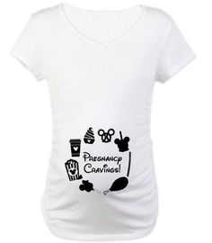 b7ec167a2f8ce Pregnancy Cravings Accented With Disney Foods Maternity Shirt With Bunched  Sides For An Adorable Fit