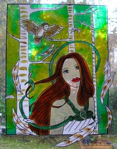 WICOART STICKER WINDOW COLOR CLING FAUX STAINED GLASS FALL LADY OWL CHOUETTE FAE