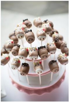 Hostess with the Mostess® - Pink and Brown Pony Party :: horse pops - look like marshmallows, cute!