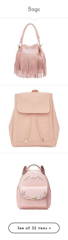 """""""Bags"""" by bfrg ❤ liked on Polyvore featuring bags, backpacks, handbags, accessories, bolsas, dusty rose, logo backpacks, drawstring bag, square leather backpack and square backpacks"""