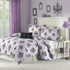 "Katelyn Printed Comforter Set Size: Twin/Twin Extra Long, Color: Purple by Mi-Zone. $49.99. Patten: Print. Size: Twin/TXL: 66x90""/20x26+2""(1)/10x18"". Set Includes: 1 Comforter, 1 Standard Sham, 1 Pillow. Material: Polyester. Katelyn is the perfect way to add color and fashion to your bedroom. This comforter mini-set brings. MZ10-003 Size: Twin/Twin Extra Long, Color: Purple Katelyn is the perfect way to add color and fashion to your bedroom. This comforter mini-set brings in ..."