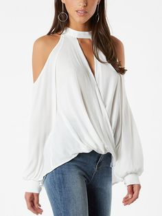 Sexy Halter Button Off Shoulder Womens Tops and Blouses 2019 White Summer Chiffon Blouse Women Shirt Long Sleeve Blusas Blouse Models, Collar Styles, Casual Tops, Casual Chic, Street Style Women, Types Of Sleeves, Blouses For Women, Ideias Fashion, Long Sleeve Tops