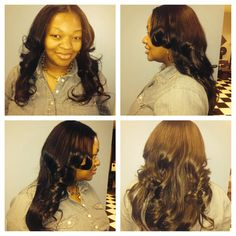 Middle part sew in minimal leave out.  3 bundles Malaysian hair.  Www.styleseat.com/luxelengths