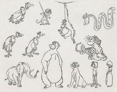 The Jungle Book Unpainted Model Cel of the Film's Major Characters. Disney Sketches, Disney Drawings, Cartoon Drawings, Disney Concept Art, Disney Fan Art, Disney Style, The Jungle Book Cast, Character Drawing, Character Design