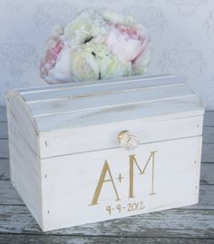 Wedding Card Box Vintage. I like the letters being bold on one side and skinny on the other. :)