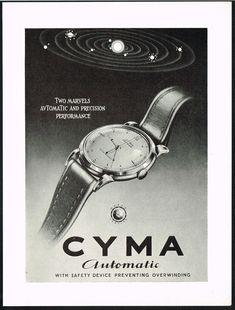 1940's Vintage 1949 CYMA Automatic Wrist Watch Mid Century Modern Art Print Ad. #cyma #automatic #vintage #watch #ads #stawc #watches