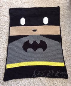 This listing is for a finished Batman Afghan.  Handmade for your decor, this afghan is approximately 3.5 ft x 4.5 ft which is perfect size for baby or as a lap throw for any Batman lover! It is made using a technique where I follow a graph to actually crochet this afghan so the afghan or graphghan is made all in one piece rather than having an applique which is common in crochet. This Afghan is made to order, please allow approximately 3 weeks for delivery.   Thanks for stopping by my shop…