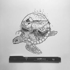 With tiny, precise pen strokes and careful cross-hatching, Italian artist Alfred Basha captures the complexity of natural life. His drawings interweave ani Art Drawings Sketches, Easy Drawings, Pencil Drawings, Pen Illustration, Ink Illustrations, Sharpie Drawings, Book Drawing, Desenho Tattoo, Pen Art