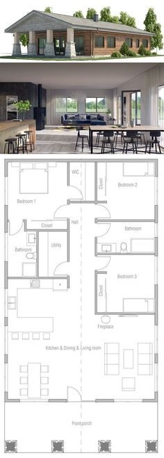 Small House Plan (bedroom 3 turned into a library/study area and door to bathroom moved inside bedroom 2)