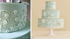 piped lace wedding cake by Leslea Matsis left and lace wedding cake image right by Antonis Achilleos via TheKnot.com