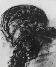ARNULF RAINER (b.1929) - UNTITLED (DETAIL OF WOODEN CHRIST), 1989, CHARCOAL OVER PRINTED BASE, 58.5 x 49 CM.