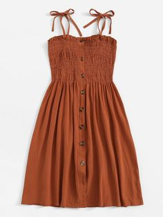 To find out about the Single Breasted Elastic Detail Slip Dress at SHEIN, part of our latest Dresses ready to shop online today! Girls Fashion Clothes, Teen Fashion Outfits, Mode Outfits, Cute Fashion, Look Fashion, Girl Fashion, Casual Outfits, Fashion Dresses, Clothes For Women