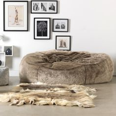 ICONTM Kenai Cloud Two Seater Faux Fur Bean Bag Mink