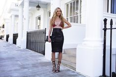 Get this look: http://lb.nu/look/8100262  More looks by Hollie Hobin: http://lb.nu/holliehobin  Items in this look:  Pretty Little Thing Bodysuit, Asos Skirt, Windsor Smith Heels   #chic #classic #elegant