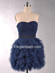 Dark Navy Ruffled Sweetheart Cocktail Length Netting Evening Party Dress (3209) – Elegantpark.com