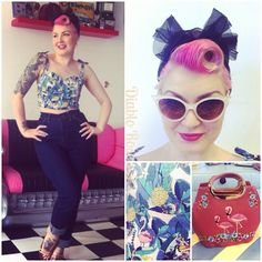 Today's look; I popped into to salon to run done errands so thought I'd snap my more casual look! Wearing my favourite 'Hug Me Baby' jeans from @ladykloves , Toucan crop top from @collectifclothing, Flamingo bag @rosabillyretro, sunglasses from Forever 21 #rockabillystyle #pinupgirl #collectifclothing #collectif #tropical #hugmebaby #ladykloves #victoryrolls #pinkhair #vintagestyle
