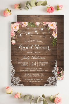 """Create the perfect invite with this """"Rustic Floral String Lights Lace Invitation Suite"""". This high-quality design is easy to customize to be uniquely yours! #rusticwedding Lace Invitations, Invitation Suite, Bridal Shower Invitations, Invitation Design, Invite, String Lights, Rsvp, Rustic Wedding, Stationery"""