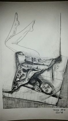 Untitled by Derae Rai  self portrait in pencil sketch doodle of crumpled paper realistic