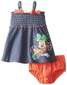 Elastic smocking on chest Mesh bow on screen print Red panty to match Disney Baby-Girls Minnie Mouse Sun Dress with Panty Set