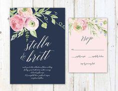 Floral Botanical Destination Wedding Invitation