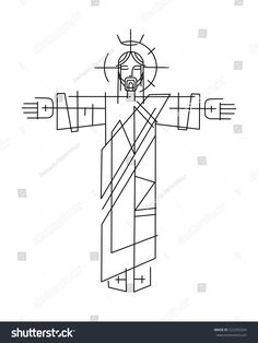Vector illustration or drawing of Jesus Christ in a minimalist style Christ Tattoo, Jesus Tattoo, Catholic Art, Religious Art, Joker Card Tattoo, Types Of Drawing Styles, Simple Tats, God Tattoos, Tatoo Designs
