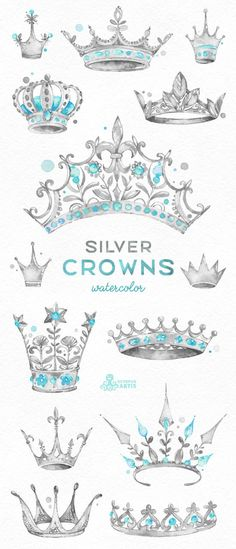 Silver Crowns. 14 Watercolor handpainted Clipart. Royal