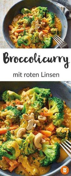 WW Rezept I Broccolicurry I Linsen I Vegetarisch I Weight Watchers Deutschland Low Carb Curry, Vegetarian Recipes, Ww Recipes, Clean Recipes, Veggie Recipes, Low Carb Recipes, Healthy Recipes, Cooking Recipes, Currys