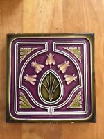 Art Nouveau Tile Tile Antique clay / tone Offstein 14,8 x 14,8 cm