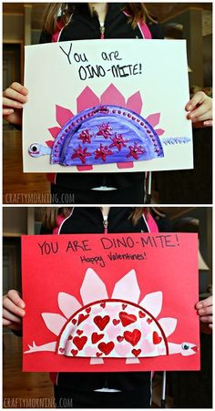 Mini paper plate dinosaur valentines day craft for kids - these make great valentine cards!   http://CraftyMorning.com