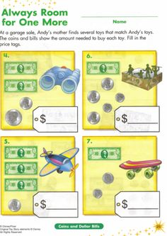 MATH ACTIVITY Toy Story Money Work Sheet Use toy money to add a manipulative part to the activity Counting Money Worksheets, Shape Tracing Worksheets, Printable Preschool Worksheets, 1st Grade Worksheets, Kindergarten Math Worksheets, Worksheets For Kids, Math Activities, Disney Activities, Math Resources
