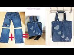 10 Min DIY Tote bag made with unused Jeans - Diy clothes Denim Handbags, Denim Tote Bags, Diy Tote Bag, Denim Purse, Diy Bags Jeans, Denim Backpack, Jean Diy, Diy Bags Purses, Denim Crafts