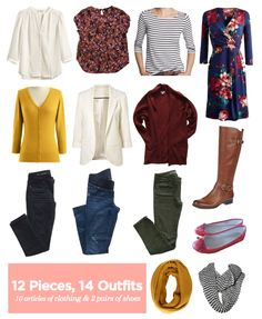 12 Pieces, 14 Outfits - Fall Packing 2014  Loving the colors!  Navy, burgundy, olive, mustard