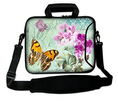 """Butterfly 13"""" 13.3"""" Laptop Carrying Bag Sleeve Case w.Sho…"""