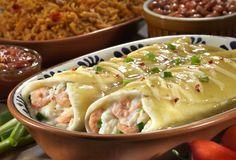 Chevy's Fresh Mex Copycat Recipes: Shrimp and Crab Enchiladas Crab Recipes, Copycat Recipes, Mexican Food Recipes, Dinner Recipes, Restaurant Recipes, Holiday Recipes, Crab Enchiladas Recipe, Seafood Enchiladas, Gourmet