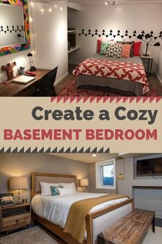 With some creative lighting techniques and design tips, you can create a basement bedroom that is both cozy and inviting. basement bedrooms 14 Tips for a Cozy Basement Bedroom Small Basement Bedroom, Old Basement, Basement Layout, Basement Apartment, Basement Walls, Basement Flooring, Basement Bathroom, Bedroom In Basement Ideas, Rustic Basement