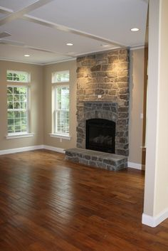 Gas Stone Fireplace and Box Ceiling