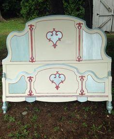 Antique Aqua &Cream Custom Painted Bed Full size by antique2chic, $465.00