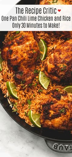 One Pan Chili Lime Chicken and Rice is made in one pan with minimal ingredients but is packed with amazing flavor! Your entire family will love this easy minute meal! The post One Pan Chili Lime Chicken and Rice Easy Delicious Recipes, Easy Healthy Recipes, New Recipes, Dinner Recipes, Cooking Recipes, Drink Recipes, One Pot Meals, Easy Meals, Chile