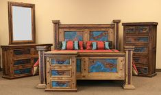 Large selection of Hacienda & Mexican style Rustic Furniture along with an incomparable selection of Mexican Folk Art Rustic Bedroom Furniture Sets, Home Furniture, Furniture Design, Copper Bedroom, Daybed With Storage, Bedroom Turquoise, Bedroom Bed Design, California King Bedding, Blue And Copper